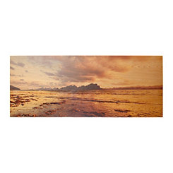 Shoreline Sunset Wood Art Print