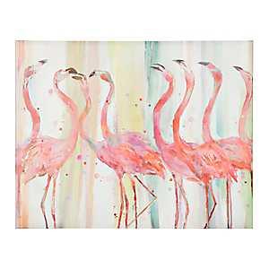 Flamingo Gossip Party Canvas Art Print