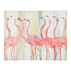 Flamingo Gossip Party Canvas Art Print
