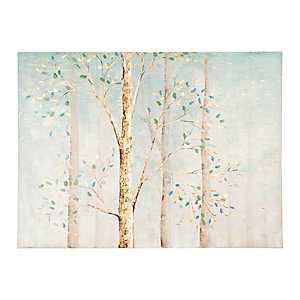 Aqua Trees with Gold Foil Canvas Art Print