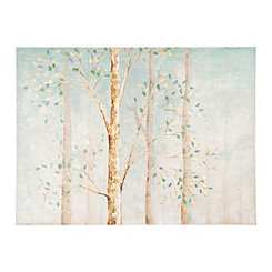 Aqua Trees with Gold Foil Canvas Art Print