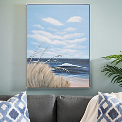 Seagulls in Waves Framed Canvas Art Print