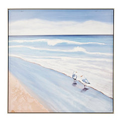 Seagulls on Beach Framed Art Print