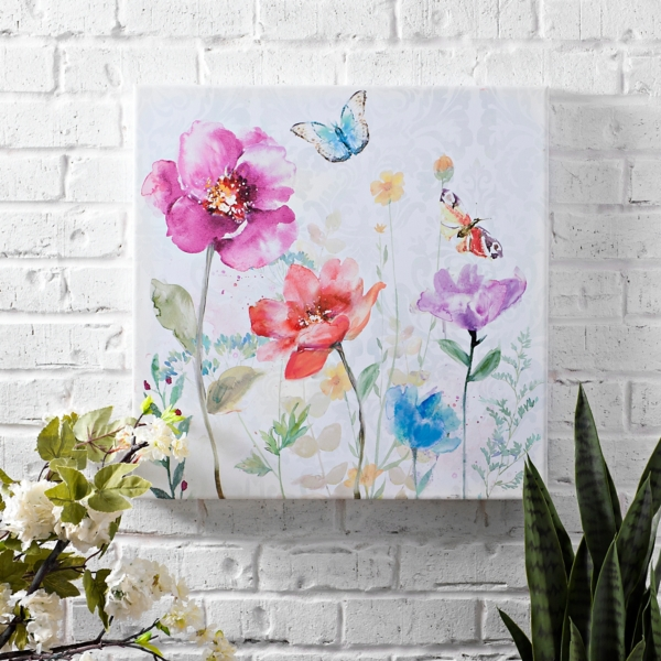 Butterfly Floral I Outdoor Canvas Art Print
