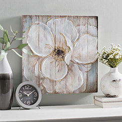Soft Floral with Gold Wood Panel Art Print