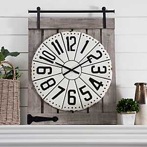 Cream Metal on Barn Door Wall Clock