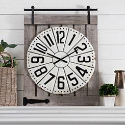 Cream Metal on Barn Door Wall Clock