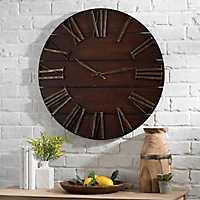 Lane Round Dark Brown Wood Plank Wall Clock