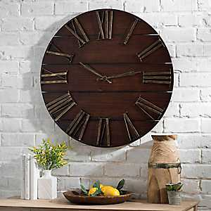 Lane Round Dark Brown Wood Plank Wall Clock