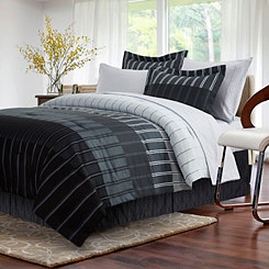 Gray Ombre Stripe 8-pc. Queen Comforter Set