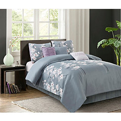 Gray Blossoms 7-pc. Queen Comforter Set