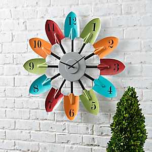 Outdoor Multi Color Shovel Wood Wall Clock