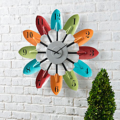 Outdoor Multi Color Shovel Wood Wall Clock