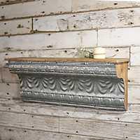 Embellished Galvanized Metal Wall Shelf, 36 in.