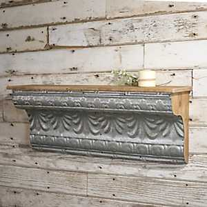 Embellished Galvanized Metal Wall Shelf, 36 in.