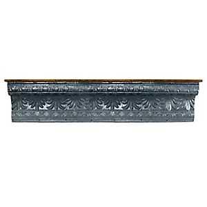 Embellished Galvanized Metal Wall Shelf, 60 in.