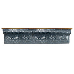 Embellished Galvanized Metal Wall Shelf, 60 in.