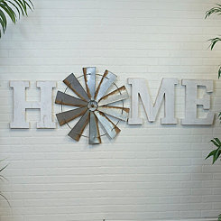 Home Wood Letters and Windmill Plaques, Set of 4