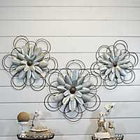 Galvanized Metal Loop Flowers, Set of 3