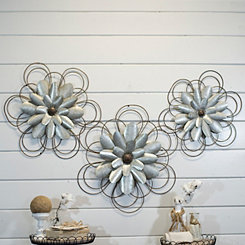Galvanized Metal Loop Flowers, Set of 3