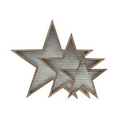 Wood Framed Galvanized Metal Stars, Set of 3