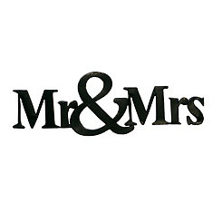 Black Metal Mr. and Mrs. Wall Plaque