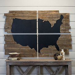 USA Map Chalkboard Wall Plaques, Set of 4