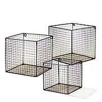 Metal Wire Wall Baskets, Set of 3