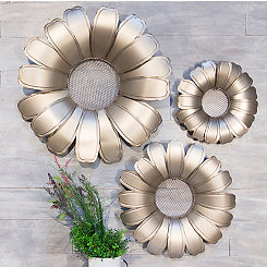 Metallic Gold Flower Plaques, Set of 3