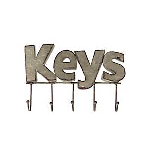 Galvanized Metal Keys Wall Hook