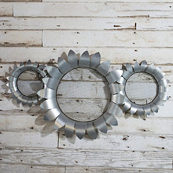 Galvanized Metal Flower Plaques, Set of 3