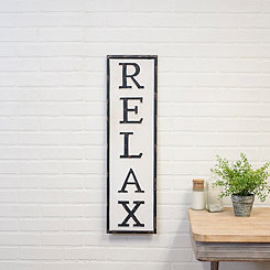 Metal Relax Vertical Wall Sign