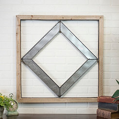 Diamond Metal and Wood Wall Plaque