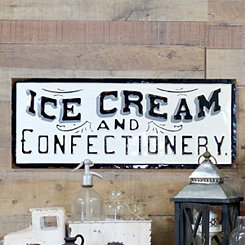 Metal Ice Cream and Confectionery Wall Sign