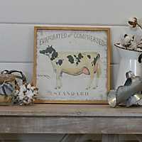 Vintage Cow Framed Wood Art Print