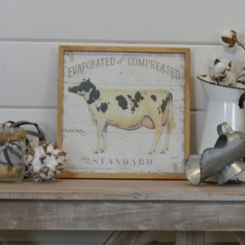 Vintage Cow Framed Wood Art Print
