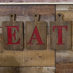 Red Wooden Eat Sign, Set of 3
