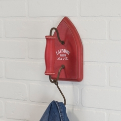 Wood Laundry Iron Red Wall Hook