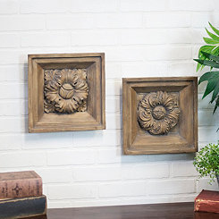 Embossed Floral Resin Plaques, Set of 2