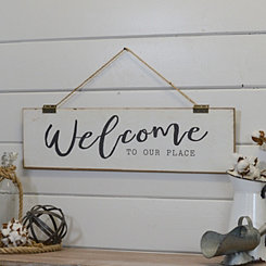 Hanging Welcome to Our Place Wall Plaque