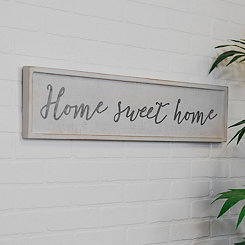 Metal on Wood Home Sweet Home Framed Wall Plaque