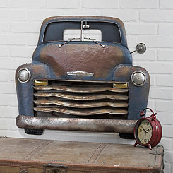 Blue Metal Truck Wall Plaque