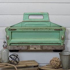 Turquoise Metal Truck Wall Plaque