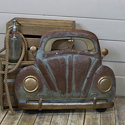 Rusted Metal Bug Car Front Wall Plaque