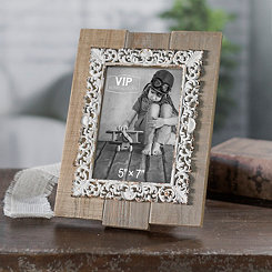 Wood Plank Cream Filigree Picture Frame, 5x7