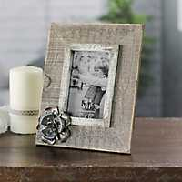 Wood with Metal Flower Picture Frame, 4x6