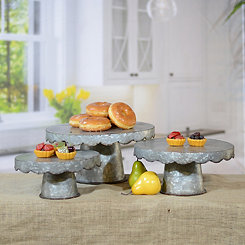 Galvanized Metal Scalloped Cake Stands, Set of 3