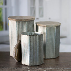 Galvanized Metal Ribbed Canisters, Set of 3