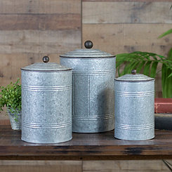 Antique Metal Canisters, Set of 3