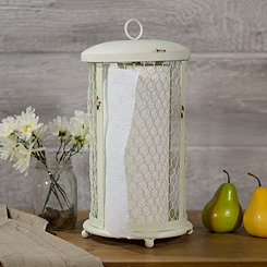 Ivory Chicken Wire Paper Towel Holder